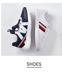 Two sneakers, one navy and one white with red, white and navy accents. Shop shoes.