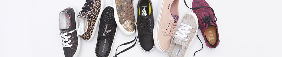 An assortment of women's fashion sneakers in a variety of colors & styles. Young contemporary shoes. Check out the season's hottest styles & fall for your new favorite pair. Shop sneakers..