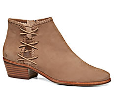 A brown suede bootie with side lace-up detail. Shop boots.