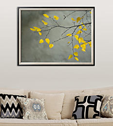 A framed picture of a tree with yellow leaves hanging on a wall above a couch.