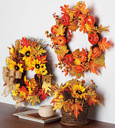2 autumn harvest wreaths & an autumn harvest floral basket.