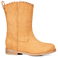 A gold-brown suede boot.