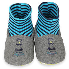 Gray baby slippers with built-in blue & black striped socks.