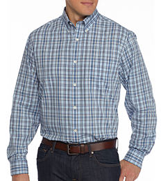 A man wearing a multi-colored plaid button-front shirt & blue jeans. Shop big & tall.