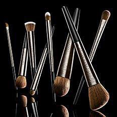 An assortment of makeup brushes.