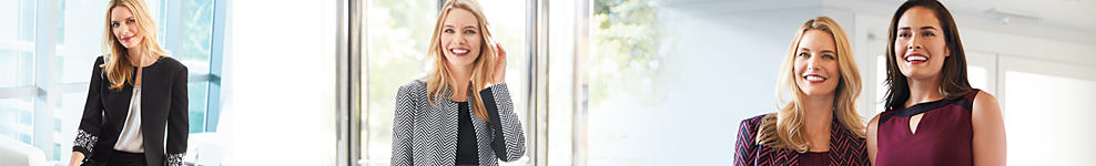 A woman wearing a black jacket, black pants & a white blouse. A woman wearing a gray jacket & a black blouse. A woman wearing a multi-colored patterned jacket & a black blouse standing next to a woman wearing a burgundy dress.