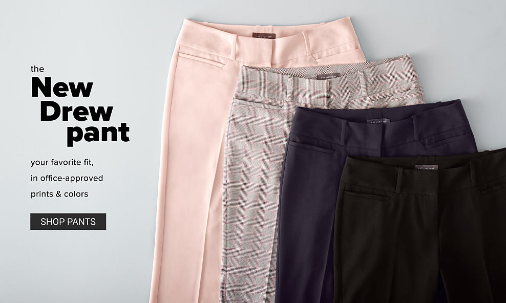 An assortment of pants in a variety of colors. The New Drew Pant. Your favorite fit, in office approved prints & colors. Shop pants.