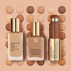 Three bottles of Estee Lauder Double Wear makeup. Shop Double Wear.