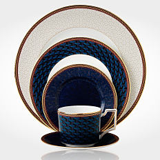 A dinnerware collection in navy and off-white. Shop dinnerware.