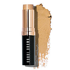 A tube of Bobbi Brown makeup with a matching makeup smudge. Shop face.