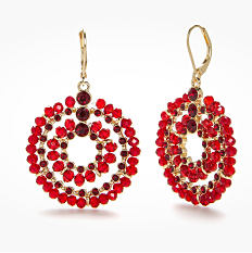 A pair of red & black beaded earrings. Shop earrings.