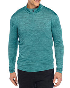 A man wearing a teal long-sleeved quarter-zip shirt. Shop shirts.