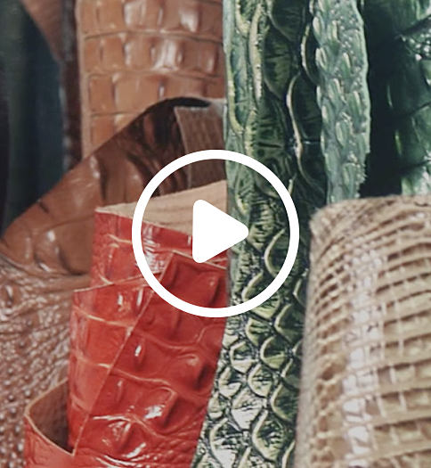 An assortment of pieces of croco leather in a variety of colors. Celebrate 35 years of Brahmin. View video.