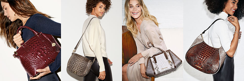 4 women carrying various styles of Brahmin croco leather handbags. Make an unforgettable first impression this season. Check out our latest fall arrivals. shop now