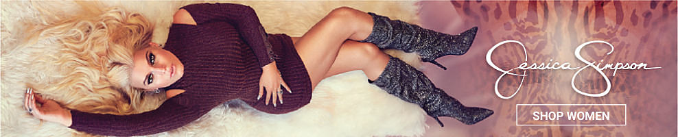 A woman wearing a burgundy cold-shoulder sweater dress & gray suede tall boots. Jessica Simpson. Shop women.