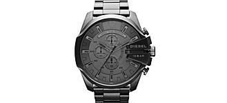 A gunmetal gray stainless steel Diesel men's watch.