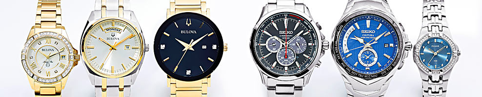 An assortment of women's & men's gold-tone & silver-tone watches in a variety of styles.