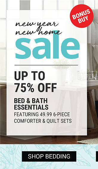 A bed made with a black & white patterned comforter, matching pillows & white sheets. New Year New Home Sale. Bonus Buy. Up to 75% off bed & bath essentials featuring $49.99 6 piece comforter & quilt sets. Shop bedding.