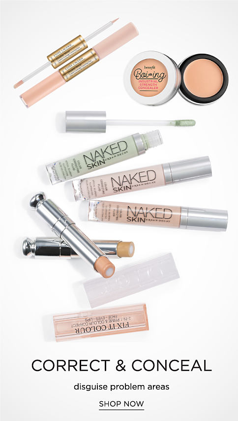 An assortment of concealing & correcting beauty products. Corrrect & Conceal. Disguise problem areas. Shop now.