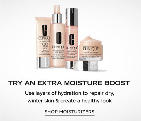 An assortment of Clinique beauty prodcuts. Try and Extra Moisture boost. Use layers of hydration to repair dry winter skin & create a healthy look. Shop moisturizers.