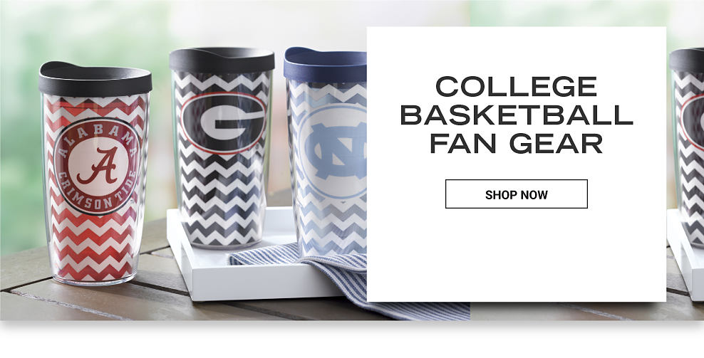 Three tumblers featuring different school's team logos. One Crimson Tide, one Gamecocks and a Tarheels tumbler. College Basketball Fan Gear. Shop Now.