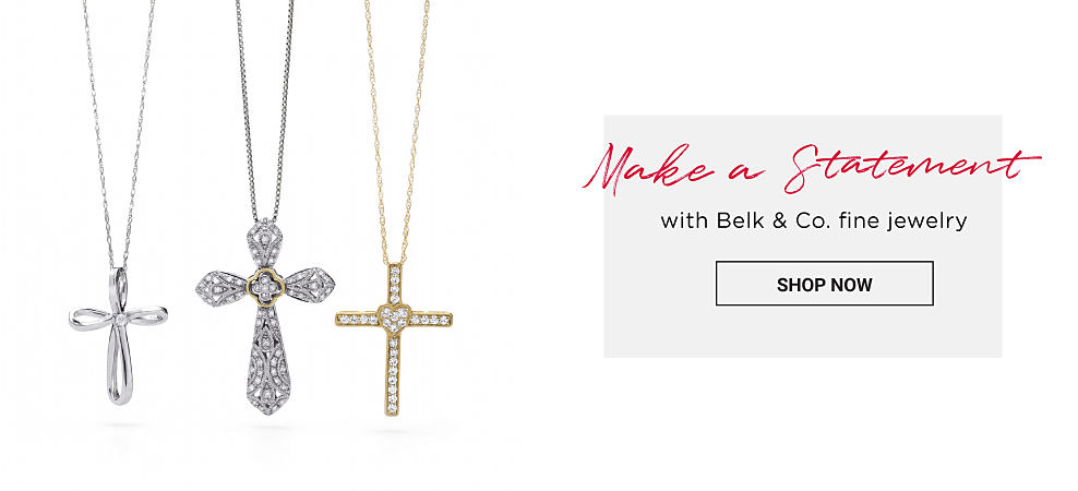 A silver cross pendant necklace a silver & diamond cross pendant & a gold & diamond cross pendant. Make a statement with Belk & Company fine jewelry. Shop now.