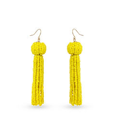 A pair of yellow tassel earrings. Shop fashion jewelry earrings.