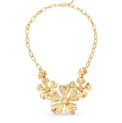 A gold-tone floral-themed necklace. Shop fashion jewelry necklaces.