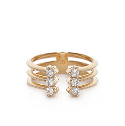 A gold-tone & cubic zirconia ring. Shop fashion jewelry rings.