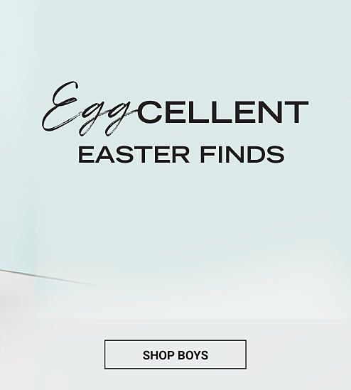 A boy wearing a multi-colored short-sleeved shirt & yellow shorts sitting next to a boy wearing a light blue & light yellow vertical striped long-sleeved button-front shirt & navy pants. A girl wearing a blue sleeveless dress sitting next to a girl wearing a coral & gray star patterned short-sleeved dress. Eggcellent Easter Finds. Shop boys.