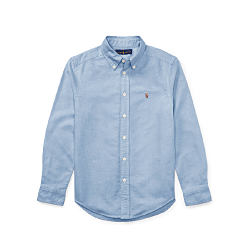 A powder blue long-sleeved button-front shirt. Shop items for boys size 8-20.