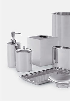 A variety of brushed metal bath accessories. Bath accessories. Shop now.