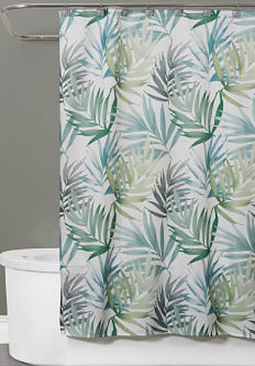 A shower curtain with a palm tree print. Shower curtains. Shop now.