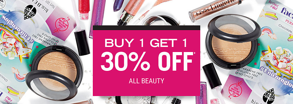 An assortment of beauty products. Mix & Match. Buy 1, Get 1 30% off beauty fragrance. Disocunted item must be of equal or lesser value.
