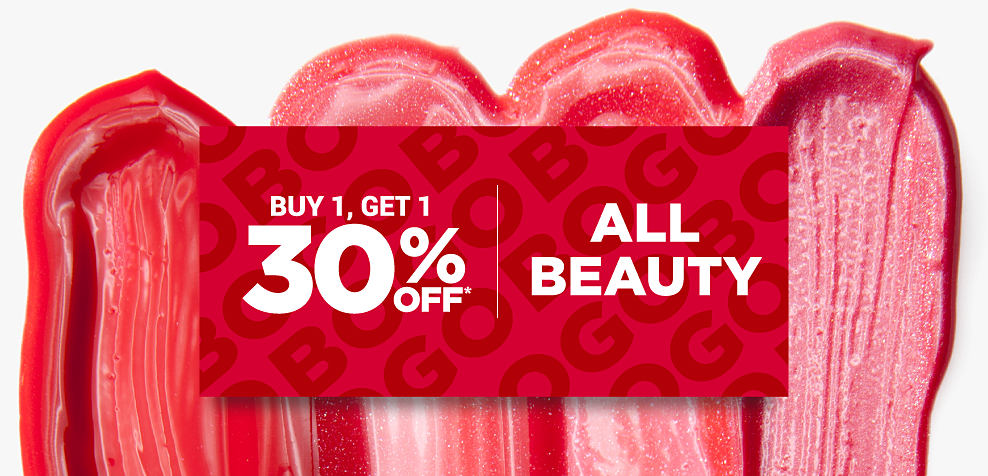 4 different shades of lipstick smudges. Buy 1, Get 1 30% off all beauty. Discounted item must be of equal or lesser value.