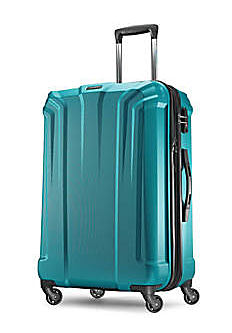 A teal rolling suitcase. Shop luggage.