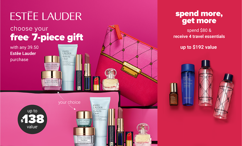 An assortment of makeup and skincare products and a pink traveling makeup case. Estee Lauder. Choose your free 7-piece gift with any 39.50 Estee lauder purchase. Up to 138 dollar value. Shop now.