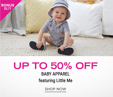 A baby boy wearing a blue & white striped bucket hat, matching onesie & sneakers. Bonus Buy. Up to 50% off baby apparel featuing Little Me. Shop now.