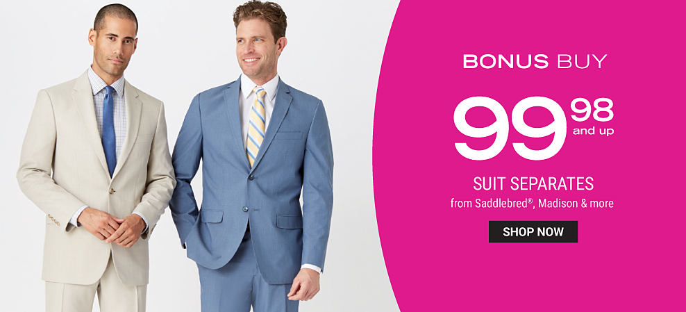 A man wearing an off white suit. a light blue dress shirt & a blue tie standing next to a man wearing a blue-gray suit, a white dress shirt & yellow, blue & white striped tie. Bonus Buy. $99.98 suit separates from Saddlebred, Madison & more. Shop now.