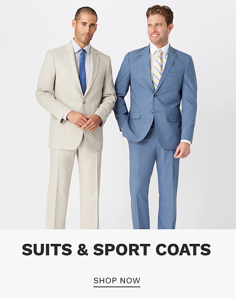 A man wearing an off white suit, a white dress shirt & a light blue tie standing next to a man wearing a gray-blue suit, a white dress shirt & a blue & yellow striped tie. Suits & Sport Coats. Shop now.