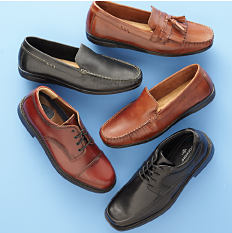 An assortment of men's leather shoes in a variety of colors & styles. Shop shoes.