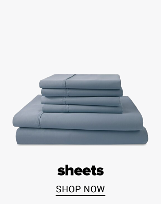 A stack of grey sheet sets. Sheets. Shop now.