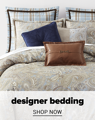 A light blue and beige paisley comforter set with matching pillows. Designer bedding. Shop now.