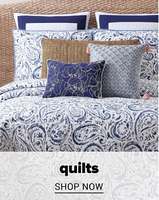 A blue and white paisley quilt set with matching pillows. Quilts. Shop now.