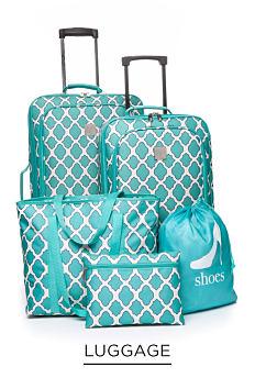 A teal & white 5 piece luggage set. Shop luggage.