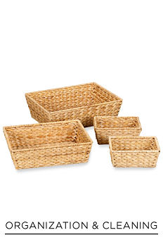 A set of brown wicker baskets. Shop organization & cleaning.