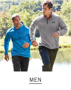 Two men running outside. Shop Men.