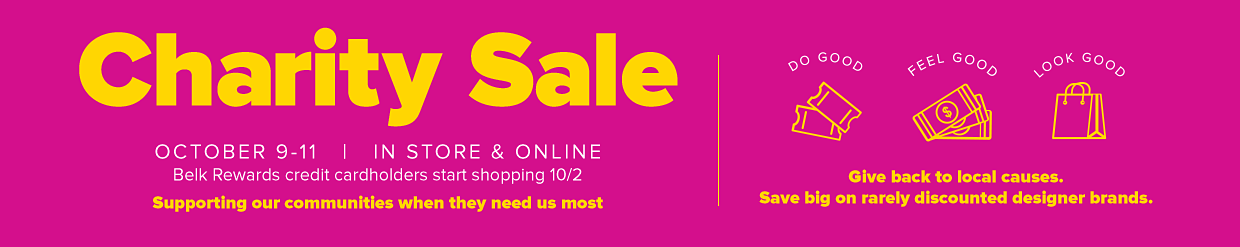 Charity Sale October 9-11 | In Store & Online, Suppoting our communities when they need us most.