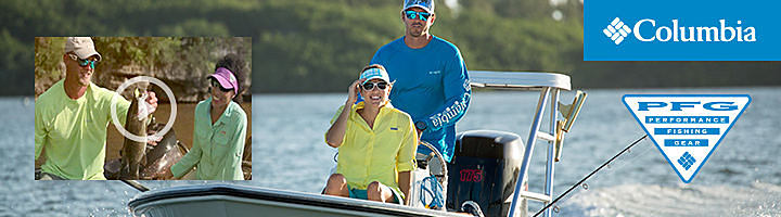 A man & a woman in a fishing boat wearing Columbia appasrel. Columbia Performance Fishing Gear.