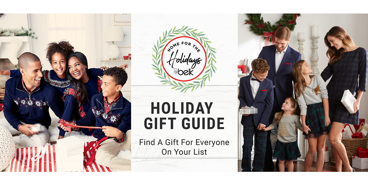 One family wearing Christmas sweaters and another family in Christmas dress clothes. Home for the holidays. Holiday gift guide. Find a gift for everyone on your list.